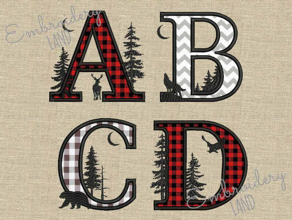 Buffalo SATIN stitch Applique Alphabet 5 sizes AL092