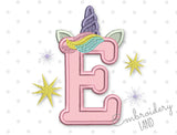 Unicorn Letter E Applique DL200