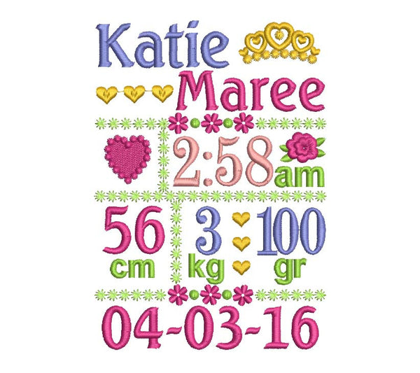 Birth Announcement Template Filled Embroidery design by ...