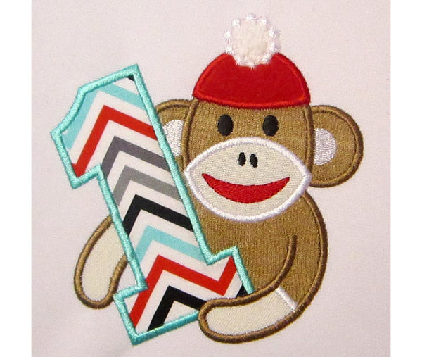 Sock Monkey Boy Number 1 Applique HB020
