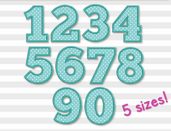 Birthday Numbers Set Applique Set 5 sizes BS004