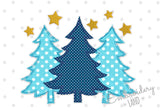 Merry Christmas Trees Free Edge Applique CHR089