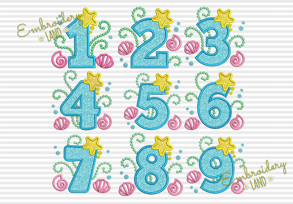 Cute Mermaid Numbers Applique Set HB079