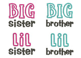 Whole Big Lil Brother Sister Set Applique SA008