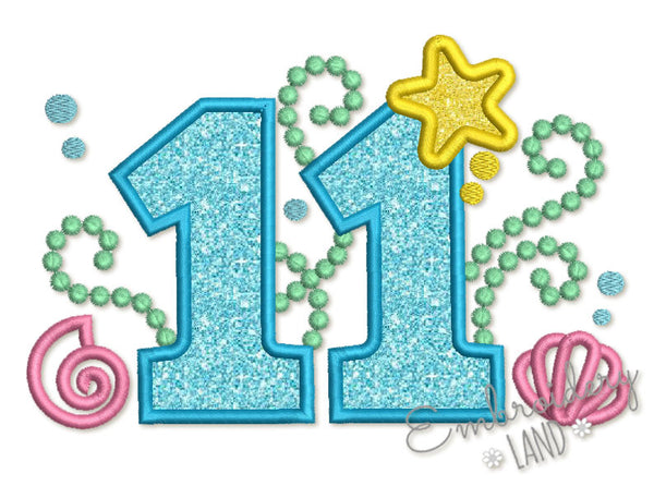 Cute Mermaid Sea Number 11 Applique HB095