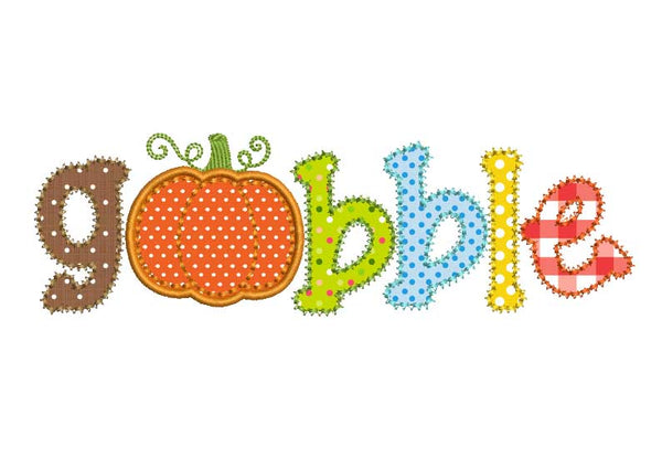 Gobble Thanksgiving Applique TG006