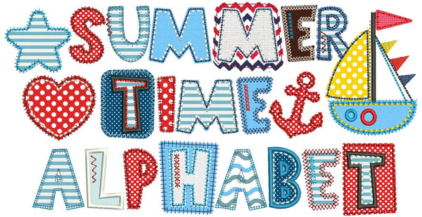 Sea Summer Time Applique Alphabet Font AL025