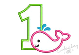 Whale Number 1 Applique HB088