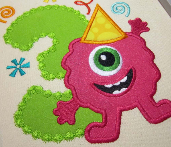 Funny Monster Number 3 Applique HB008