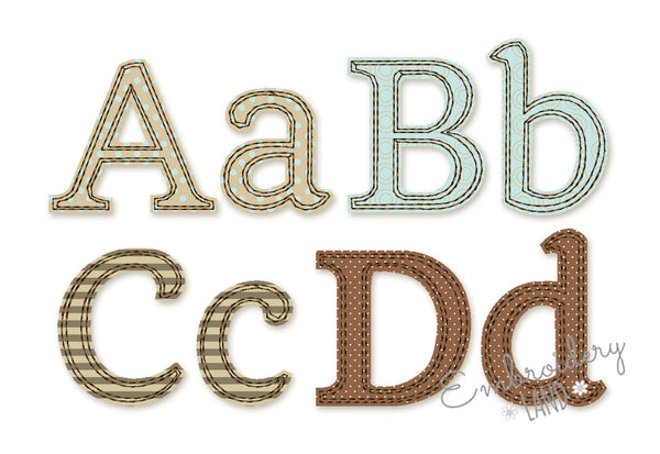 Free Edge Raggy Applique Alphabet AL072