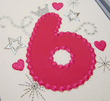 Birthday Pink Number 6 Applique HB009