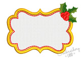 Christmas Font Frame Holly Monogram Applique FF019