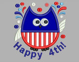 Fireworks Owl 4th July Embroidery Applique Design DE006