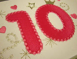 Bithday Pink Number 10 Applique HB021