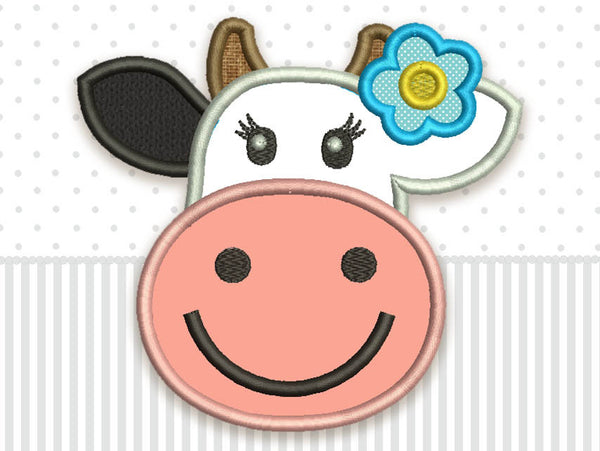 Cow Cute Applique Embroidery Design  AN024