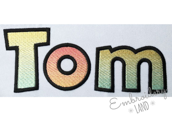 "BX included! ""Tom"" Gradient Filled Embroidery Font AL075"