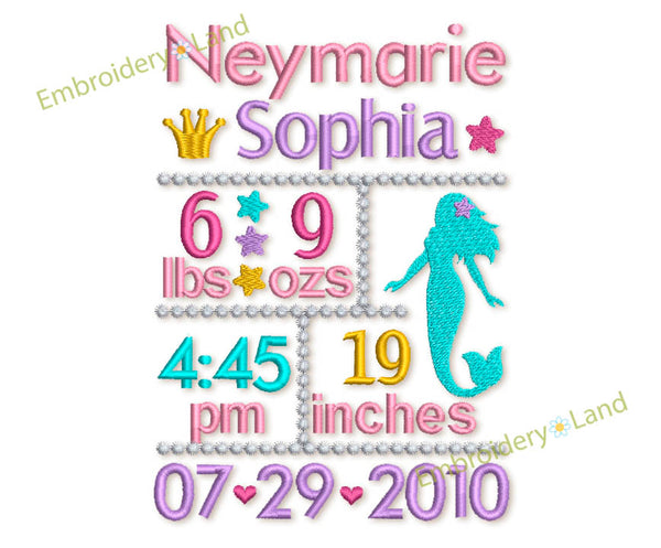 Custom Baby Girl Mermaid Announcement 5x7 or 6x10 hoop CU004