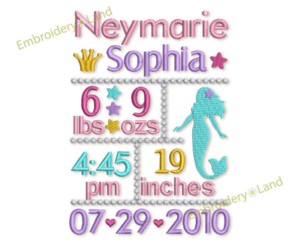 Custom Mermaid Baby Girl Birth Announcement Embroidery Design 5x7 or 6x10 hoop sizes CU004