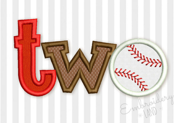 Two Baseball Ball Birthday Applique SP016