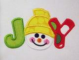 Joy Chrisrmas Snowman Face New Year Applique CHR034