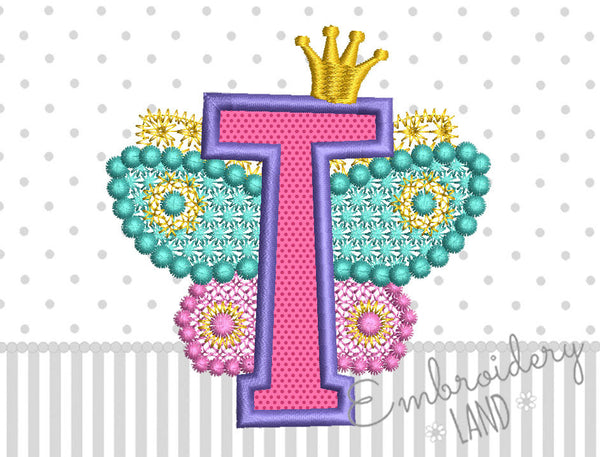 Fairy Letter T Applique DL125