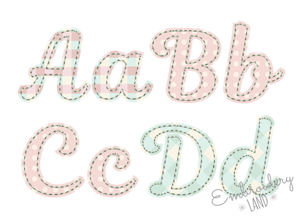 "Mini Sizes 1"", 1.5"", 2"", 2.5"" Free Edge Applique Alphabet AL084"