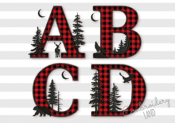 Buffalo ZIGZAG stitch Applique Alphabet Font 5 sizes AL090