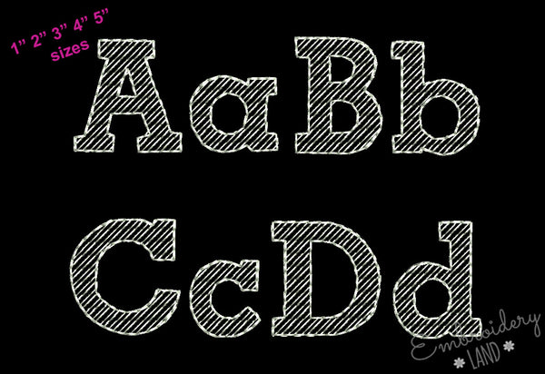 Chalk Filled Embroidery Font  AL049