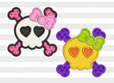 Halloween Skull and Crossbones Applique HAL014
