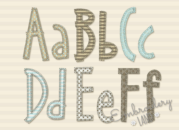 "Narrow Blanket Stitch ""Suri"" Applique Font AL080"