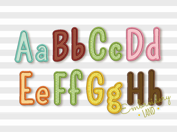 Narrow Applique Alphabet 6 sizes AL040