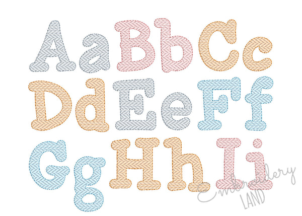 Smarty Sketch Style Font Filled Embroidery Design 5 sizes AL099
