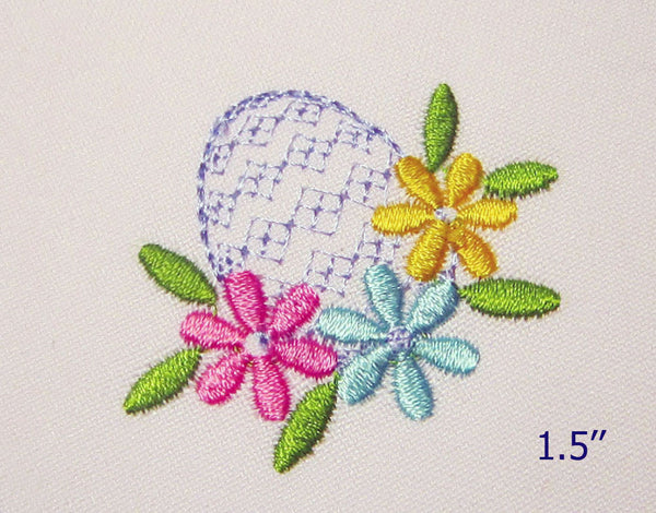 Mini Easter Flower Egg Embroidery Design M21
