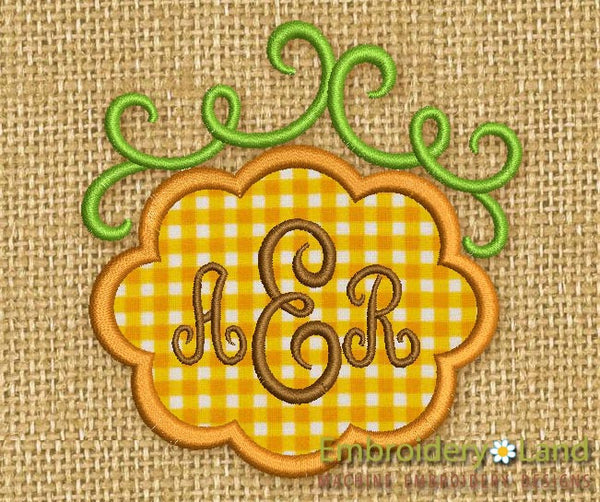 Whimsical Pumpkin Font Frame Applique FF001