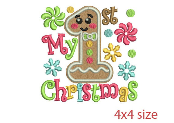 My first Christmas Embroidery Applique  CHR046