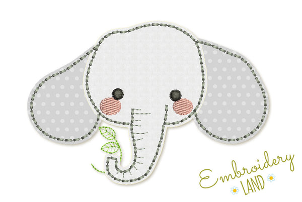 Elephant Hand Stitch Free Edge Applique AN033