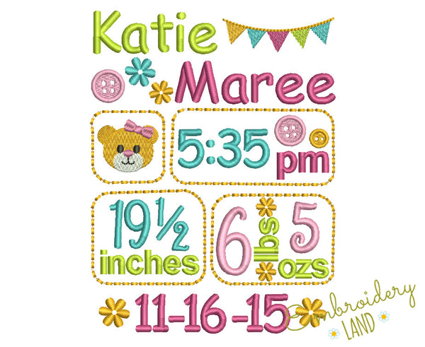 Birth Baby Girl TEMPLATE announcement BA026
