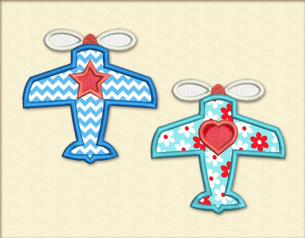 Star and Heart Planes for Babies Applique BA017