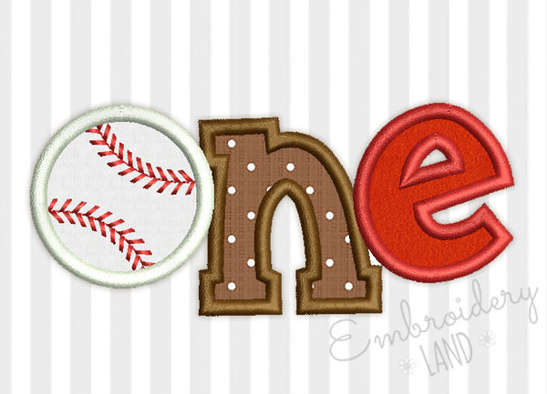 One Baseball Ball Birthday Applique SP015