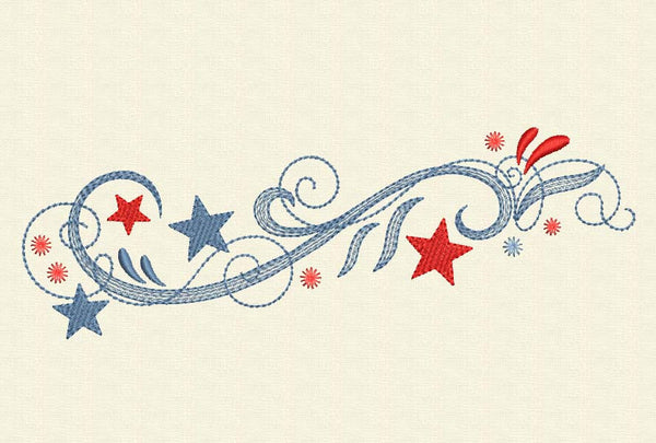Patriotic Stars Ornament for 4th July Embroidery Design DE014