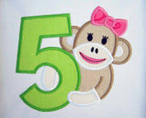 Sock Monkey Girl Birthday Number 5 Applique HB051