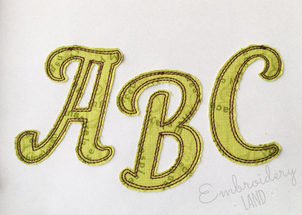 Narrow Script Free Edge Raggy Applique Alphabet AL063