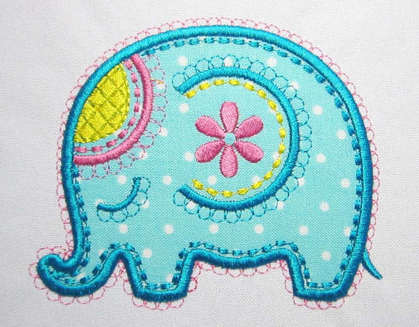 Elephant Applique Cute Embroidery Design AN017