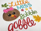 Little Miss Gobble Thanksgiving Appliqué TG012