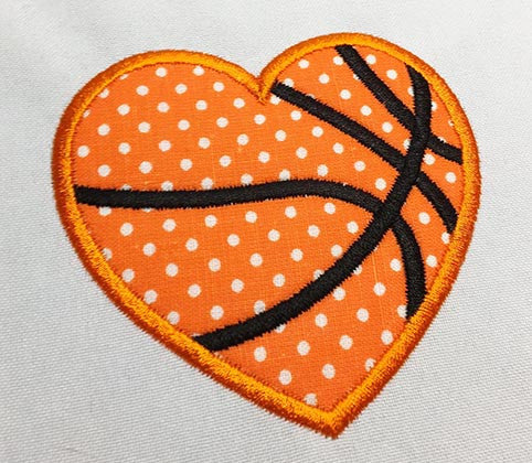 Basketball Heart Ball Applique SP009