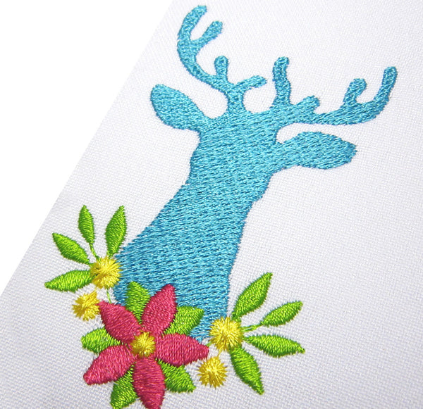 Christmas Deer Filled Stitches Embroidery Design AN019
