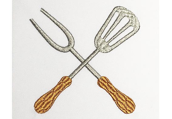 Grill Utensils Filled Embroidery Design DE027