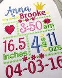 Custom Baby Girl Newborn Announcement Embroidery Design 5x7 or 6x10 hoop sizes CU001