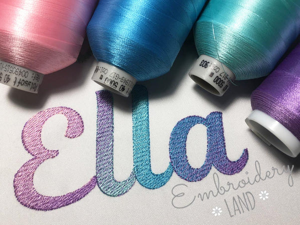 """Ella"" Gradient Filled Embroidery Font AL081"