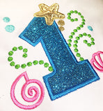 Cute Mermaid Sea Number 1 Applique HB068